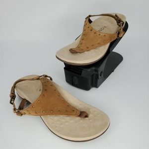New Vionic Margot Suede Studded T-Strap Sandals